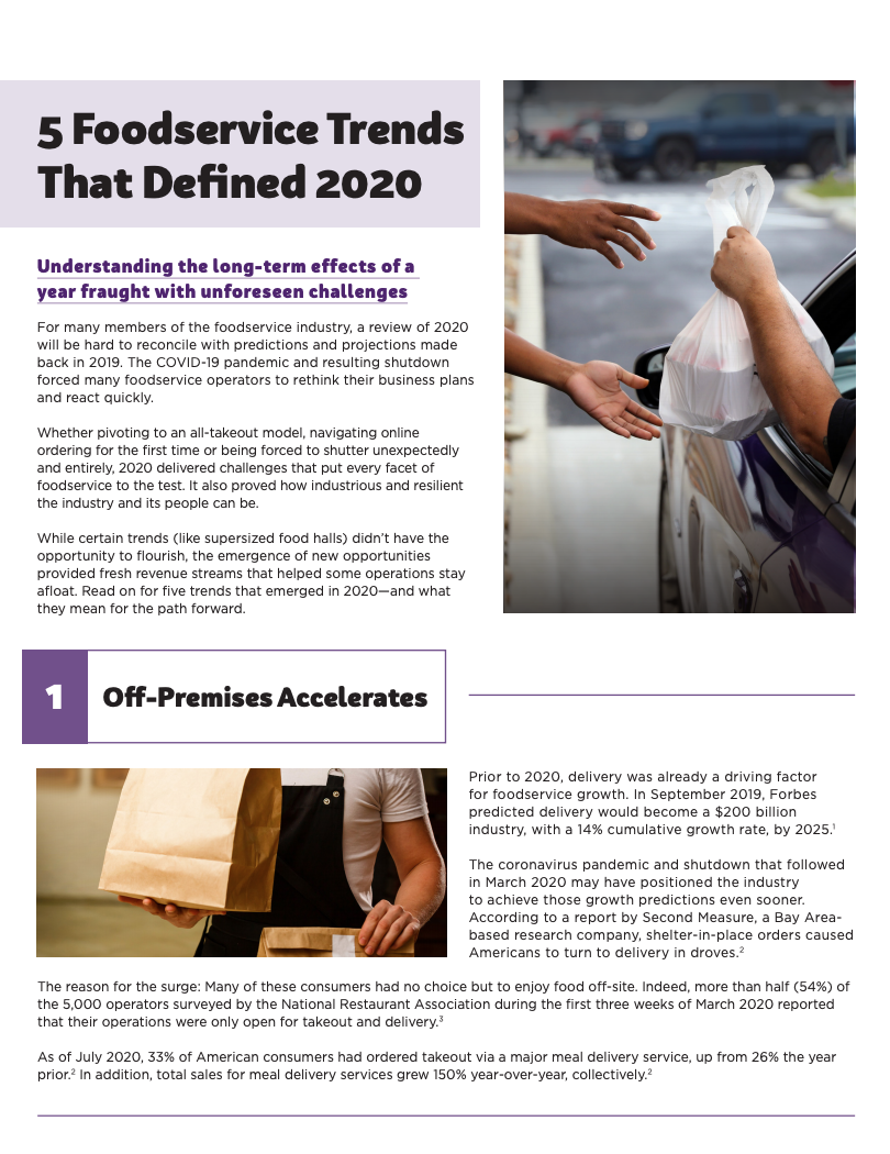 5 Foodservice Trends that Defined 2020